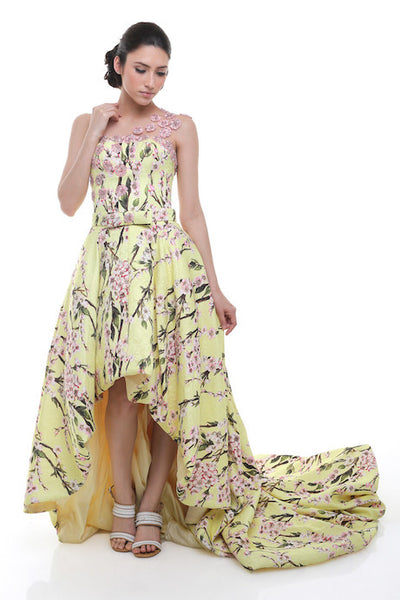 Angela Prisa - Buy: Yellow High-Low Gown in Printed Fabric-The Dresscodes - 1