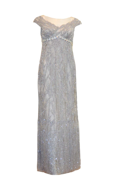 Rent: Anrini Polim Silver V-Neck Maternity Sleeveless Fully Beaded Gown