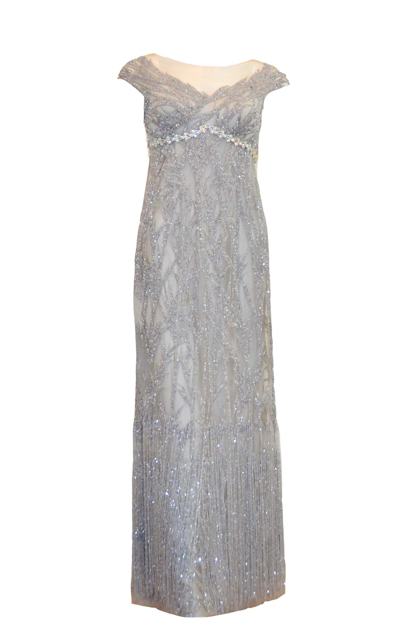 Sale: Anrini Polim Silver V-Neck Sleeveless Fully Beaded Gown