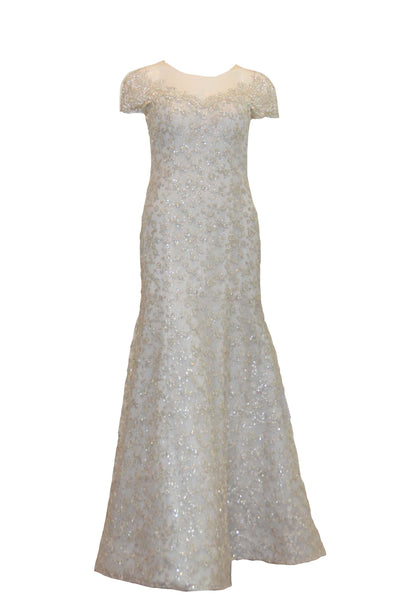 Rent: Anrini Polim Silver White Sweetheart Short Sleeves Fully beaded Long Dress