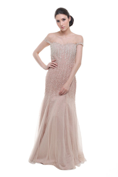 Anrini Polim - Rent: Anrini Polim Sparkly Pink Off the Shoulder Gown-The Dresscodes - 1