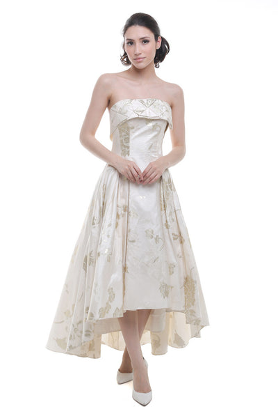 Anrini Polim - Rent: Anrini Polim White & Gold Asymmetrical Dress-The Dresscodes - 1