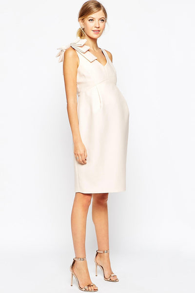 ASOS Maternity - Rent: ASOS Maternity Pencil Dress with Bow Detail-The Dresscodes - 1