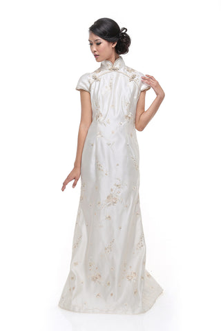 Buy: Adrian Gunawan White CheongSam Long Dress