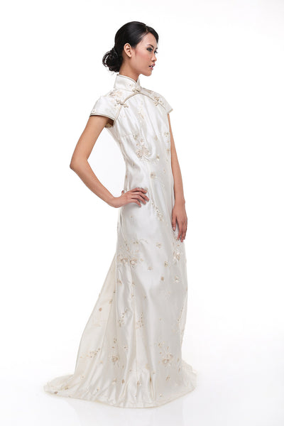 Adrian Gunawan - Rent: Adrian Gunawan White CheongSam Long Dress-The Dresscodes - 1