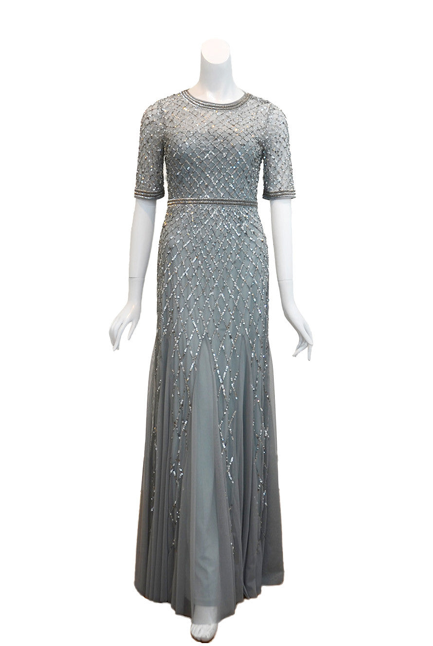 Adrianna Papell Silver Beaded Dress Thedresscodes Com