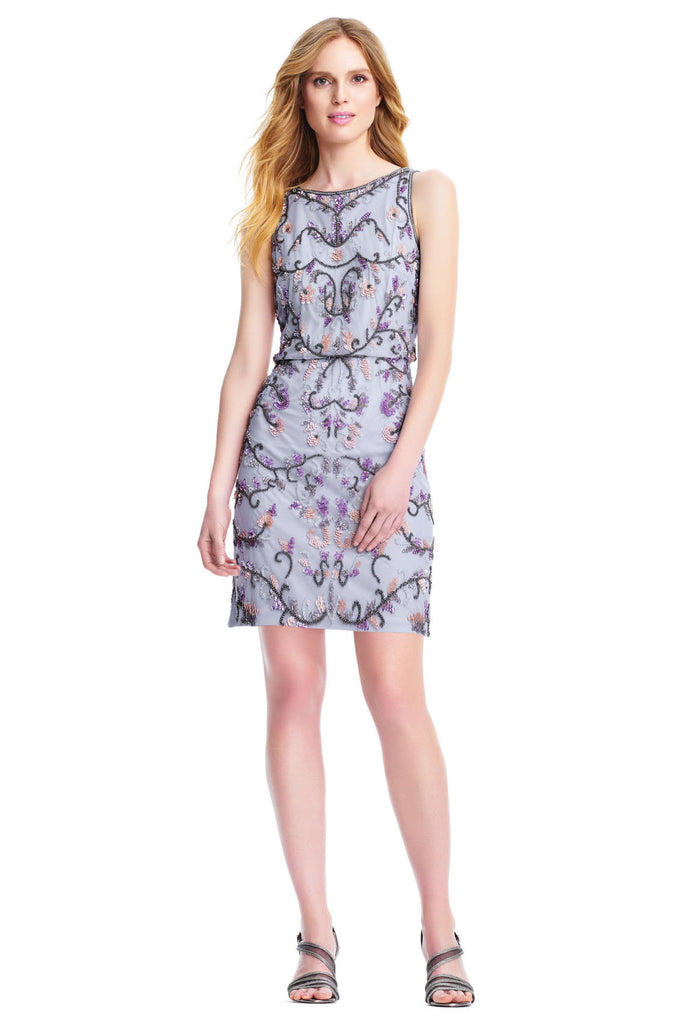 Rent: Adrianna Papell - Floral Beaded Blouson Cocktail Dress