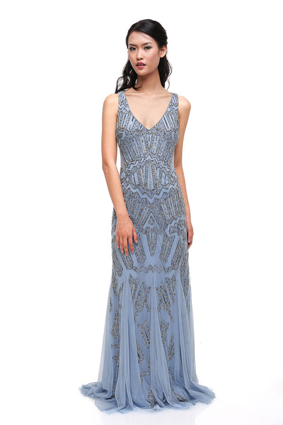 Adrianna Papell - Rent: Adrianna Papell Blue V-neck Beaded Gown-The Dresscodes - 1