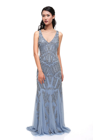 Rent: Adrianna Papell Blue V-neck Beaded Gown