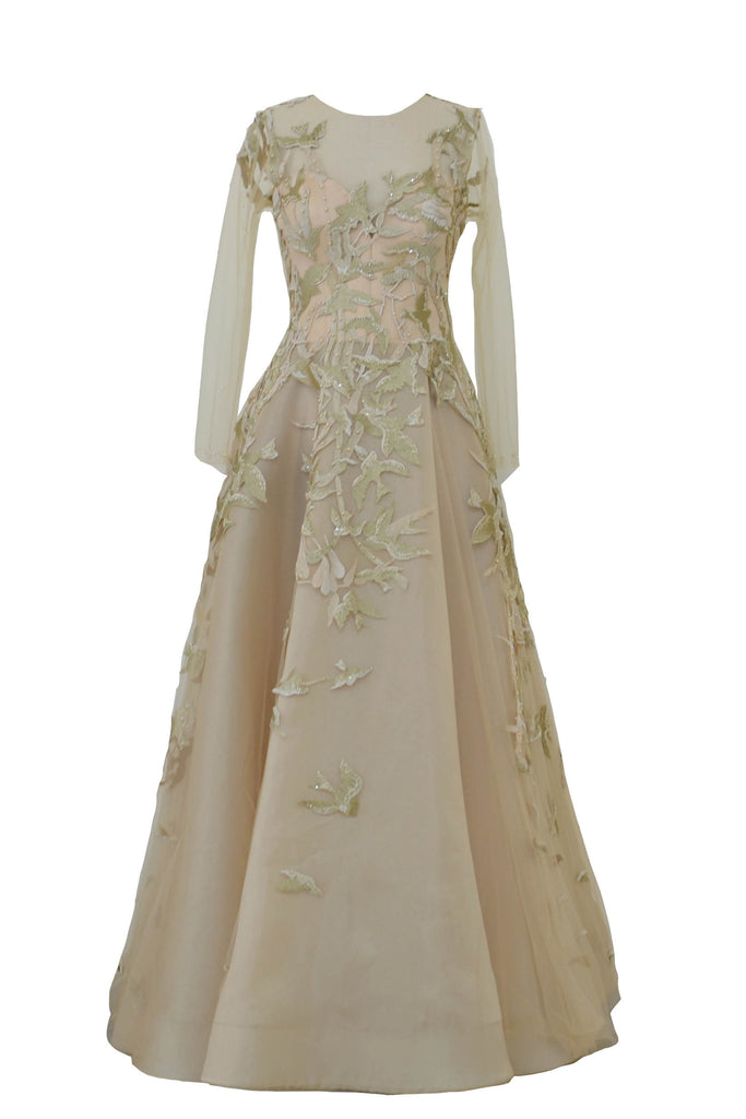 Rent: Agvsta By Bethania - Gold Skin Long Sleeves Tulle Gown