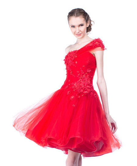 Agvsta By Bethania - Rent: Agvsta by Bethania One Shoulder Red Tulle Dress-The Dresscodes - 1