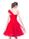 Agvsta By Bethania - Rent: Agvsta by Bethania One Shoulder Red Tulle Dress-The Dresscodes - 2