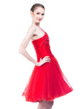 Agvsta By Bethania - Buy: One Shoulder Red Tulle Dress-The Dresscodes - 3