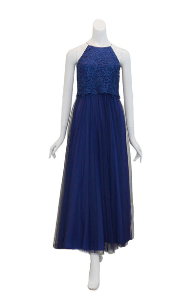Rent: Aidan Mattox Navy Blue Halter Midi Dress