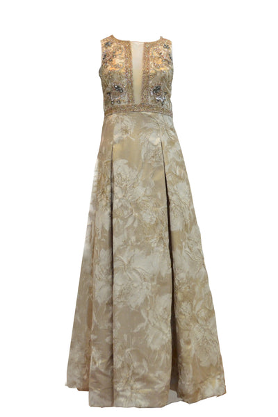 Rent: Aidan Mattox - Cream Gold Jacquard Beaded Gown