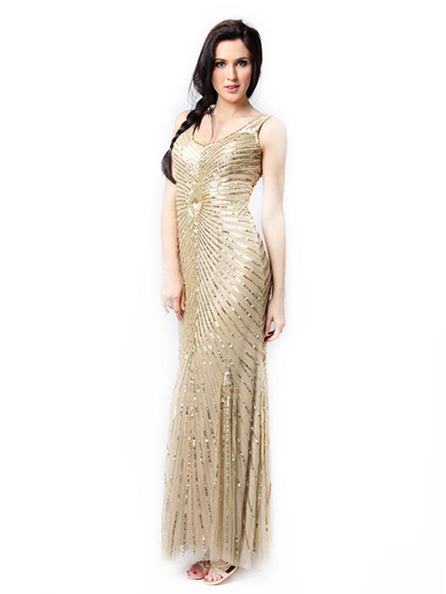 Aidan Mattox - Rent: Golden Diamond Sequin Gown-The Dresscodes - 1