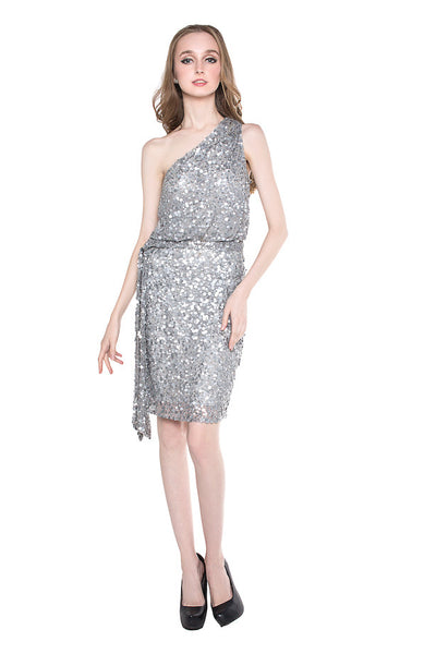 Aidan Mattox - Rent: Aidan Mattox One Shoulder Sequin Dress-The Dresscodes - 1