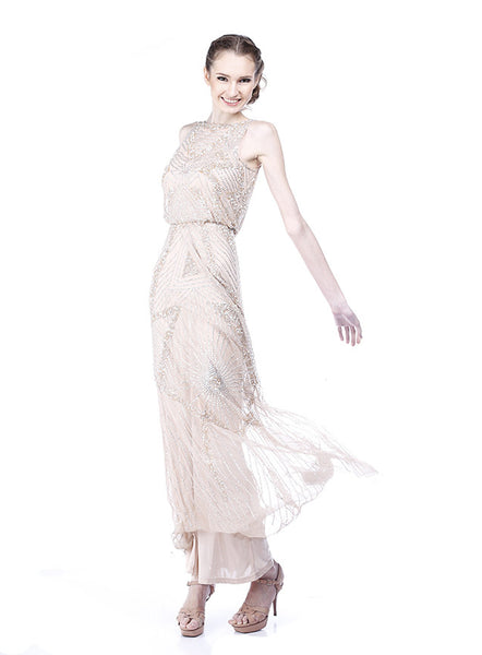 Aidan Mattox - Rent: Aidan Mattox Cinched Waist Beaded Gown-The Dresscodes - 1