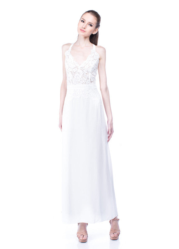 Aijek - Rent: Aijek White Drifter Lace Maxi Dress-The Dresscodes - 1