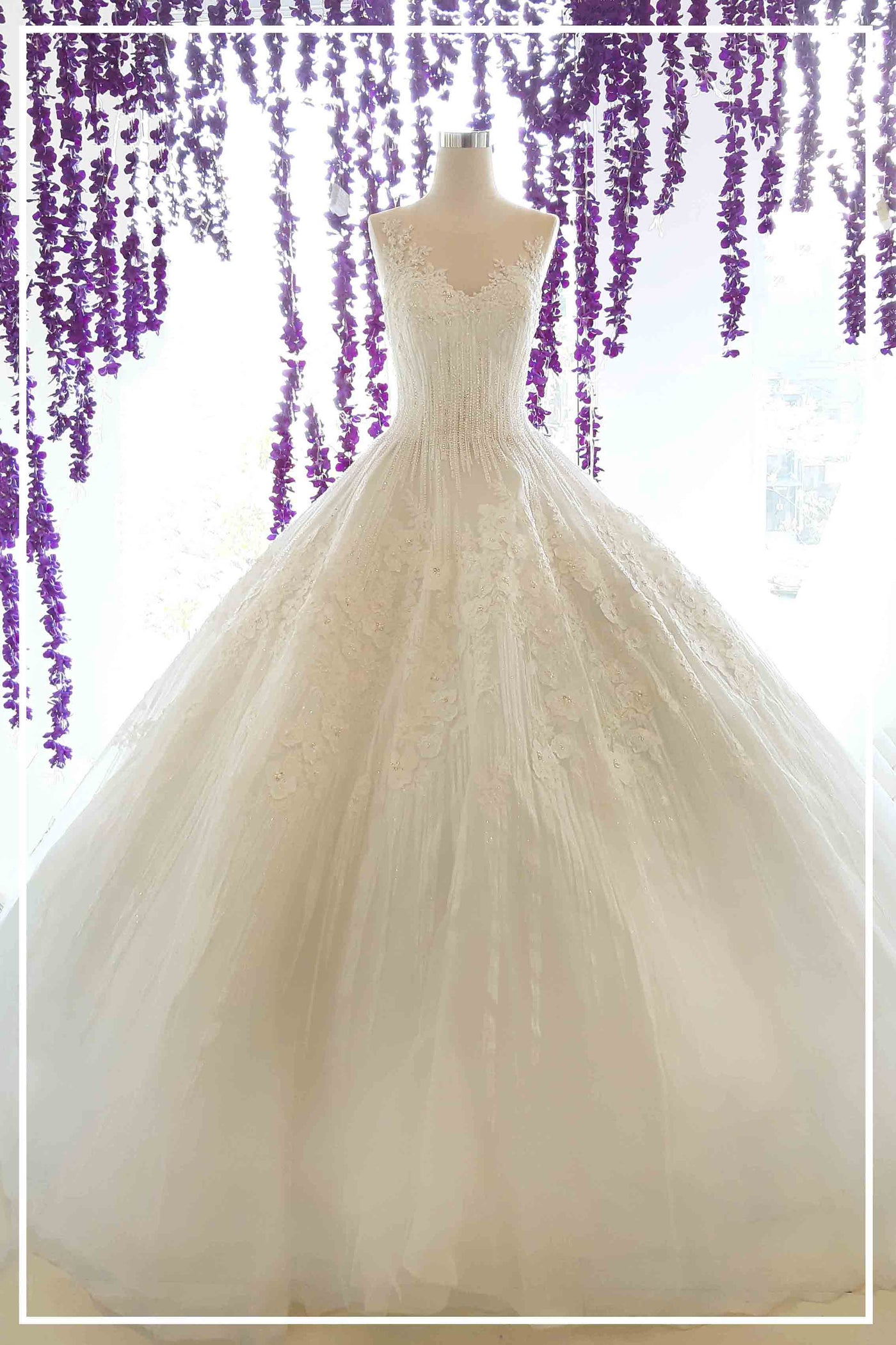 Rent : Albert Yanuar - Beaded Wedding Ball Gown with Cape & Removable Back Bow
