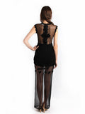 Ali Charisma - Rent: Ali Charisma Black Tulle Dress with Back Slit-The Dresscodes - 2