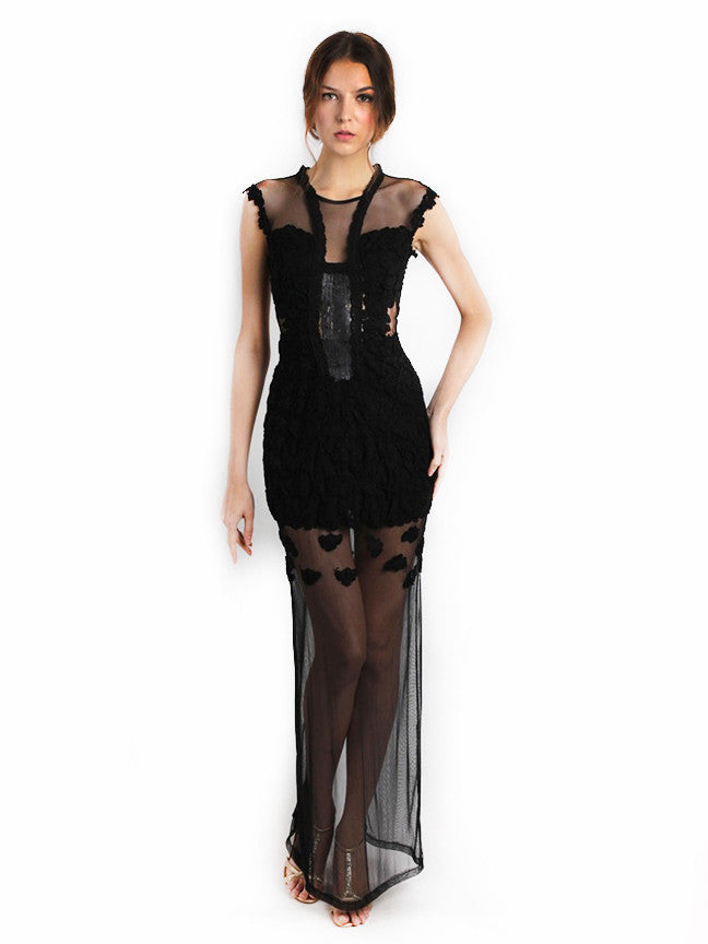 Ali Charisma - Rent: Ali Charisma Black Tulle Dress with Back Slit-The Dresscodes - 1