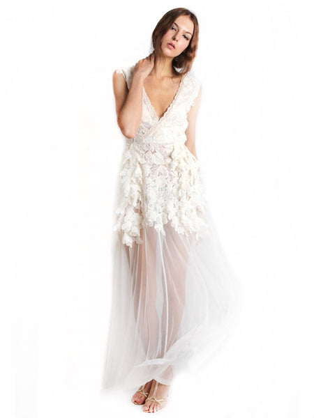 Ali Charisma - Buy: White Sequin & Lace Dress-The Dresscodes - 1