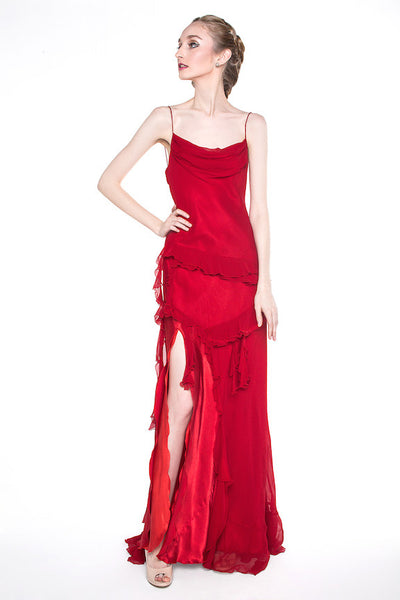 Alin Fashion - Rent: Alin Fashion Red Column Gown-The Dresscodes - 1