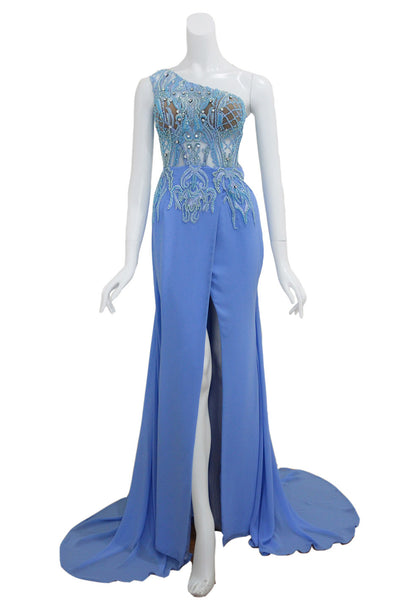Rent: Anaz Blue One Shoulder Beaded Dress