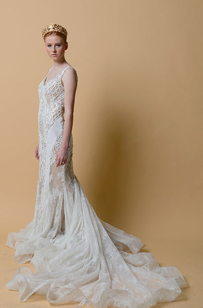Rent: Anaz White Beige Mermaid Wedding Gown