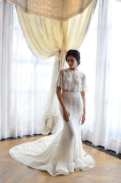 Rent: Anaz White Cape Mermaid Wedding Gown