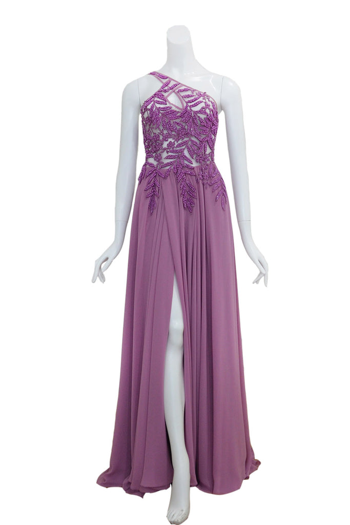 Rent: Anaz Purple One Shoulder Beaded Dress