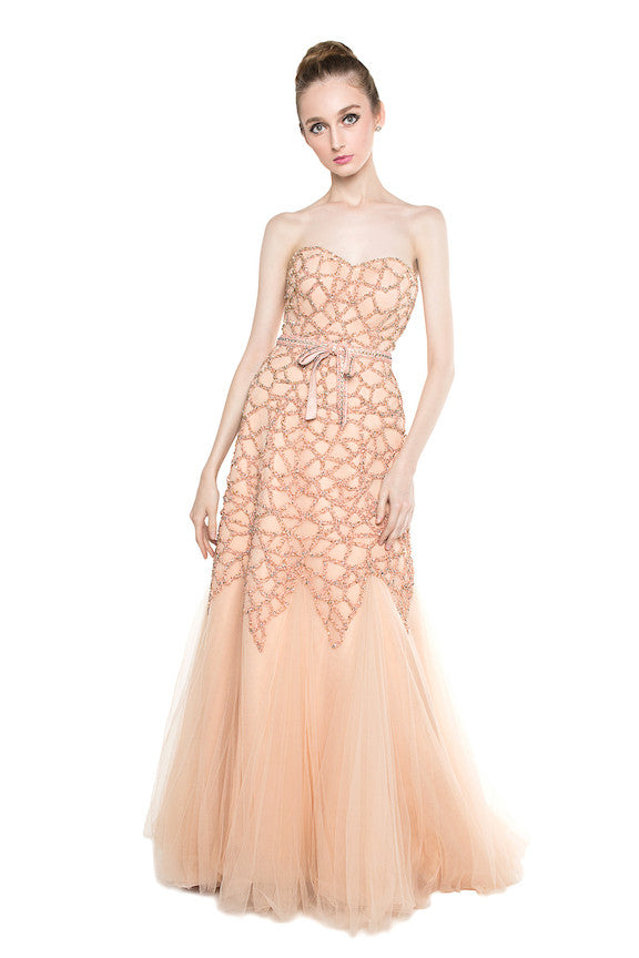 Andreas Odang - Buy: Peach Beaded Gown-The Dresscodes - 1