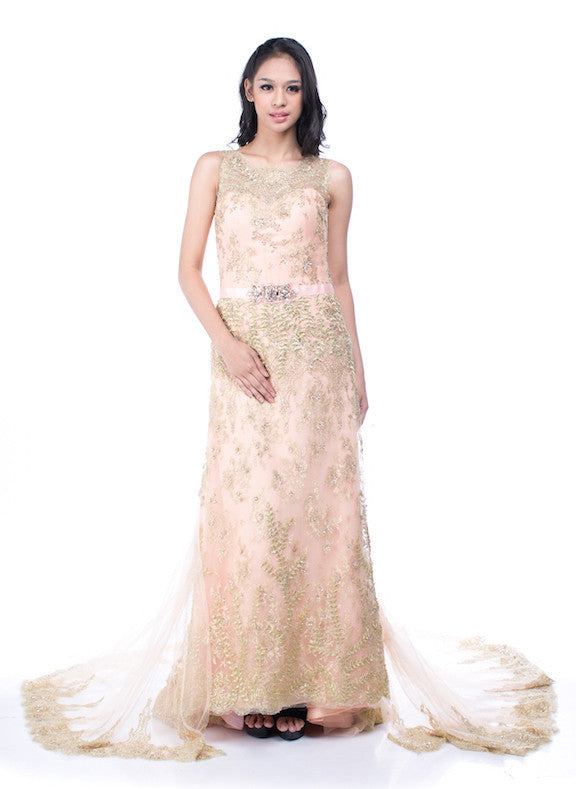 Andreas Odang - Buy: Peach Golden Lace Gown-The Dresscodes - 1