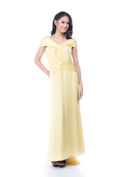Andreas Odang - Buy: Off Shoulder Yellow Gown-The Dresscodes - 1