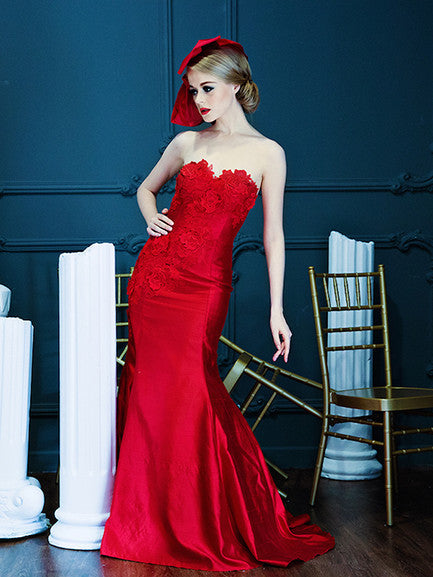 Angela Prisa - Rent: Angela Prisa Red Mermaid Gown-The Dresscodes - 1