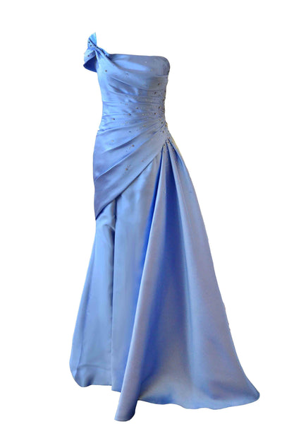 Sale: Anrini Polim - One Shoulder Blue Strapless Satin Gown with Bow
