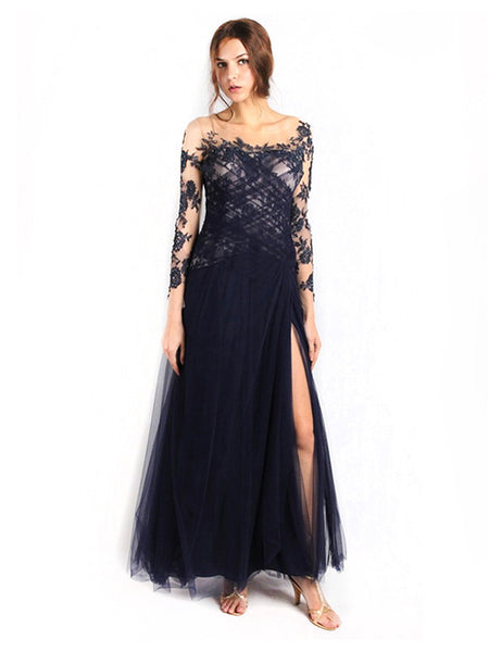 Anrini Polim - Buy: Navy Blue Tattoo Gown-The Dresscodes - 1