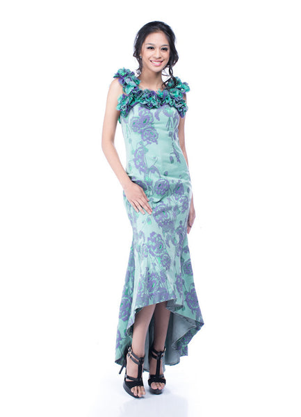 Anrini Polim - Buy: Blue Green Floral Dress-The Dresscodes - 1