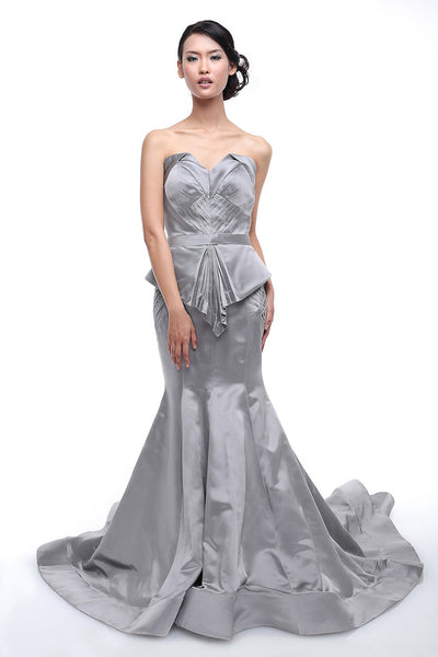 Anrini Polim - Rent: Anrini Polim Grey Strapless Trumpet Satin Gown-The Dresscodes - 1