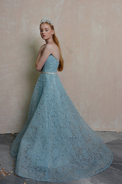 Rent: Anrini Polim Blue Sweetheart A-Line Gown