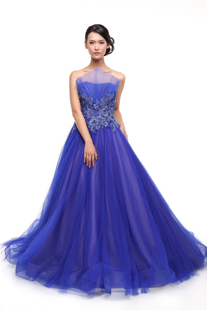 Anrini Polim - Buy: Pleated Triangle Royal Blue Gown-The Dresscodes - 1