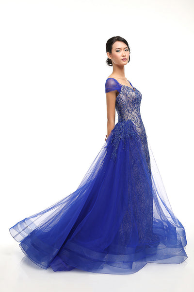 Anrini Polim - Buy: Anrini Polim Royal Blue Tulle Gown-The Dresscodes - 1