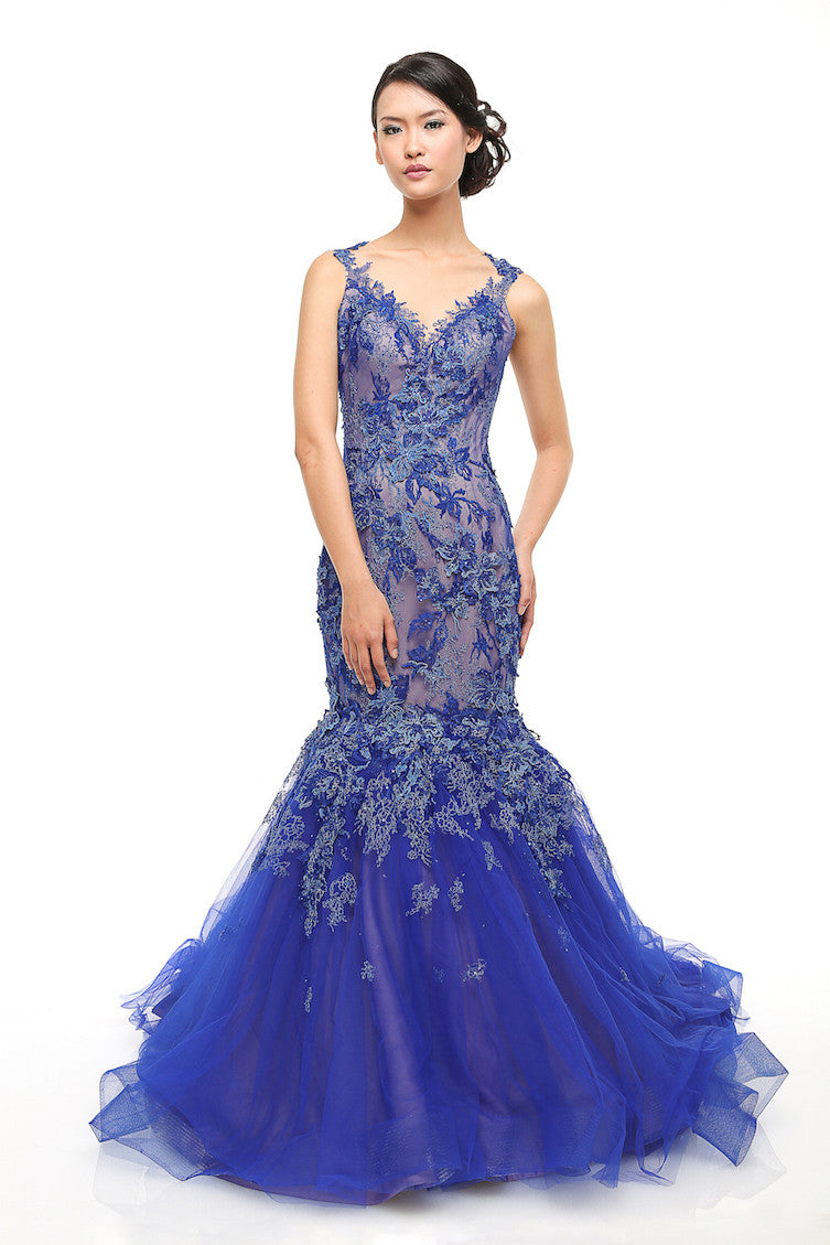 Anrini Polim - Rent: Anrini Polim Royal Blue Mermaid Lace Gown-The Dresscodes - 1