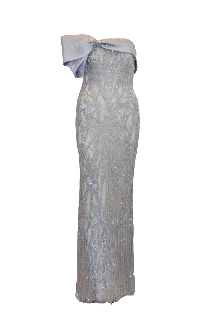 Sale: Anrini Polim Silver Strapless Fully Beaded Gown with Bow