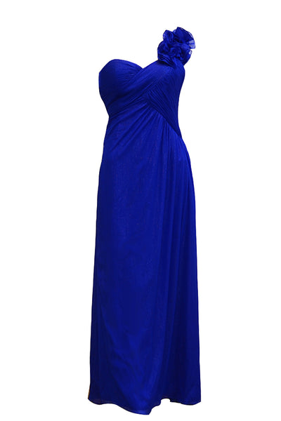 Rent: Aqua - One Shoulder Blue Glitter Chiffon Long Dress