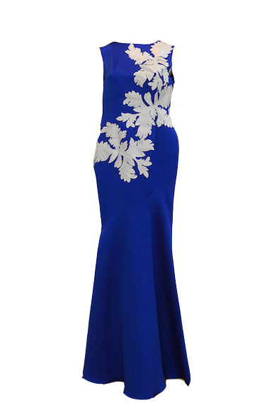 Buy: Artisan Boutique Satin Blue Dress with White Brocade