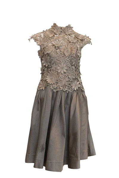 Rent: Asie Silver 3D Floral Dress