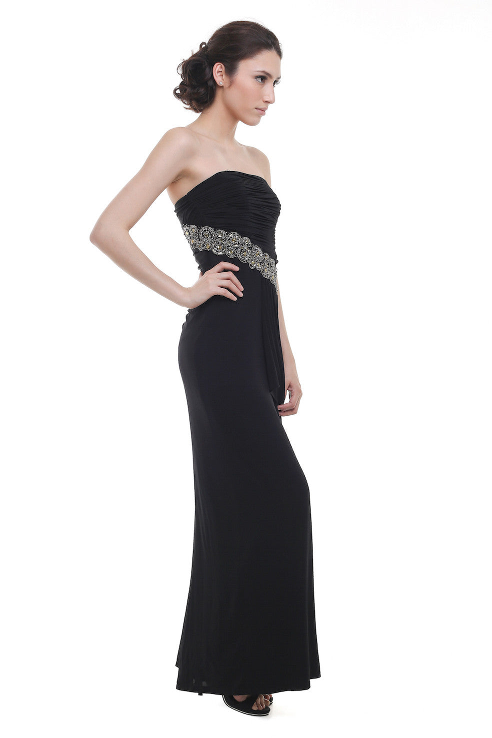 BCBGMaxazria - Buy: Strapless Beaded Black Chiffon Dress-The Dresscodes - 1
