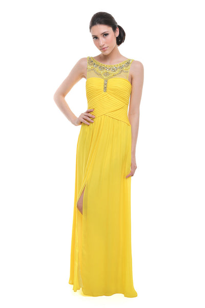 BCBGMaxazria - Buy: Yellow Beaded Neckline Pleated Chiffon Dress-The Dresscodes - 1